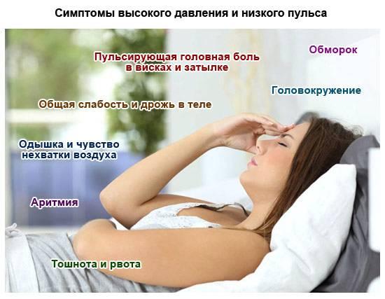 симптомы высокого давления и низкого пульса